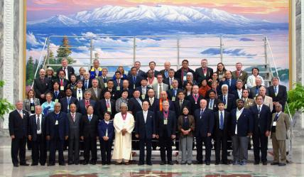 Mr Karim Dickie with President Kim Yong Nam and foreign delegates at the Mansudae Assembly Hall, Pyongyang