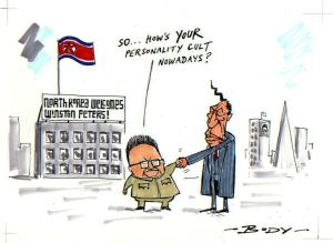 """North Korea Welcomes Winston Peters!"" New Zealand Herald Cartoon, 11 November 2007, Artist: Guy Keverne Body. National Library of New Zealand."