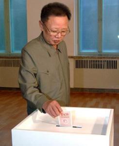 Leader Kim Jong-Il casts vote